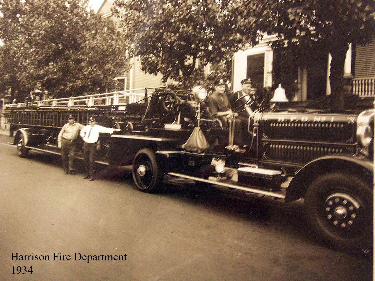 Harrison Fire Department Members and Engine in 1934